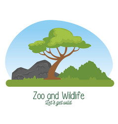 Wildlife reserve with tree and nature mountains vector