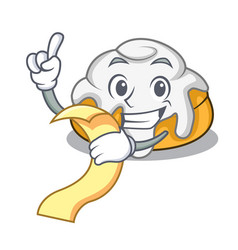 With menu cinnamon roll mascot cartoon vector