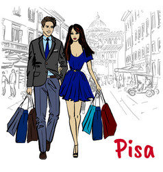 woman and man in pisa vector image