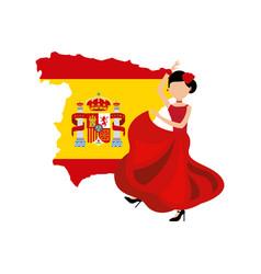 Woman dancing flamenco classic icon of spanish vector