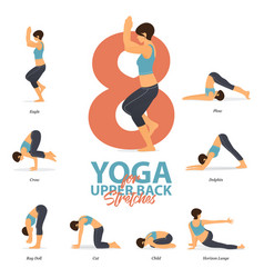 Yoga poses for upper back stretches in flat design vector