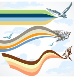 Birds flying colorful banners in the sky vector image vector image