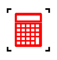 calculator simple sign red icon inside vector image