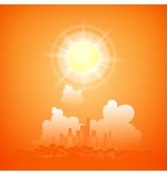 City on a sunny day vector image vector image