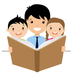 dad reading a story to her children vector image vector image