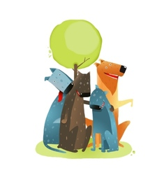 Group of Cartoon Dogs Sitting under Tree Smiling vector image vector image