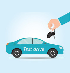 salesman hand holding car key to test drive vector image vector image