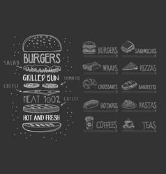 cafe menu on black chalkboard burger with vector image