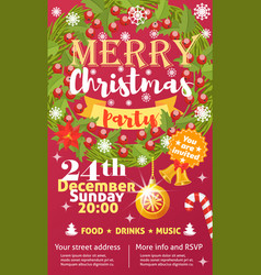 christmas party invintation card background vector image
