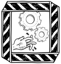 doodle danger machinery vector image vector image