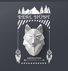 Hunter socirty wolf vector