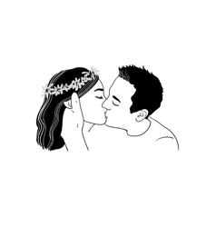 Romantic kiss loving couple vector image