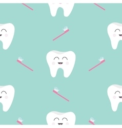 Seamless Pattern Brush Tooth health Cute funny vector image vector image