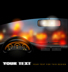 view from inside the car on the night city lights vector image