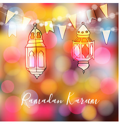 colorful hand drawn arabic lanterns with lights vector image vector image
