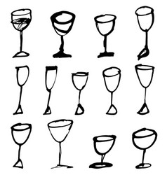 hand drawn drink cups vector image