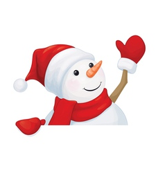 snowman waving vector image vector image