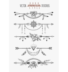 Arrow feather page dividers vector image vector image