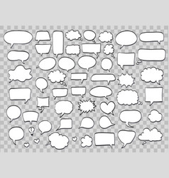 set of comic speech bubbles on transparent vector image