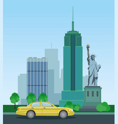 skyscrapers of new york and the statue of liberty vector image