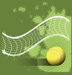 tennis ball and grid on a green background vector image vector image