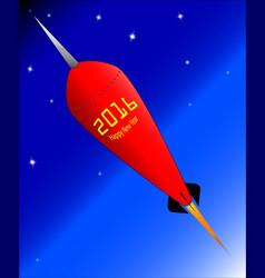 2016 happy new year rocket vector