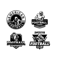 American football championship set badge vector