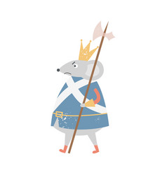 Angry mouse king with crown walking with medieval vector