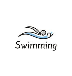 artistic line art swimming pool sport logo design vector image