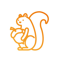 autumn season squirrel with acorn food forest vector image