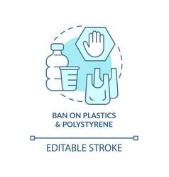 ban on plastics materials concept icon vector image
