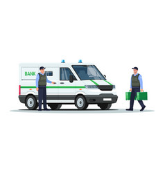 Bank truck with guards semi flat rgb color vector