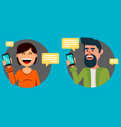 bearded man and pretty woman with smartphone vector image