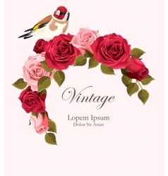 Beautiful vintage card with goldfinch vector