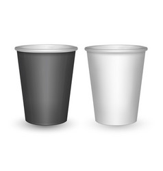 black and white paper cups isolated on white vector image