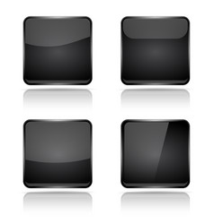 black square buttons with reflection vector image