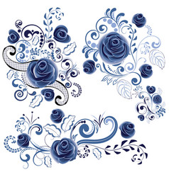 blue floral ornaments vector image