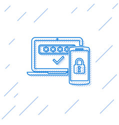 Blue multi factor two steps authentication line vector