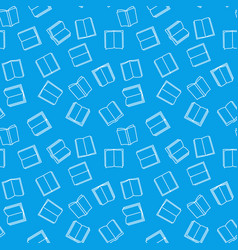 books seamless outline blue pattern vector image