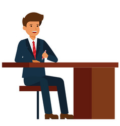 businessman sitting on office table cartoon fla vector image