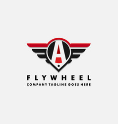 Cars logo wheel and wings with letter vector