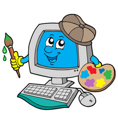 Cartoon computer artist vector