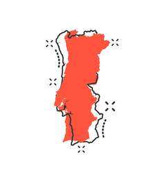 cartoon portugal map icon in comic style portugal vector image