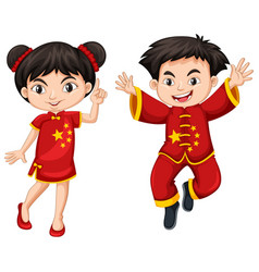 chinese boy and girl in red costume vector image