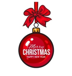 Christmas balls with red ribbon and bows greeting vector image