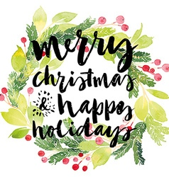 Christmas card Watercolor painting Hand lettering vector