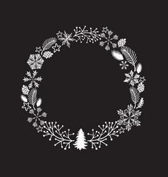 christmas wreath isolated on vector image