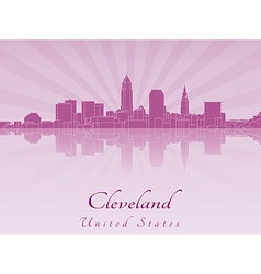Cleveland skyline in purple radiant orchid vector