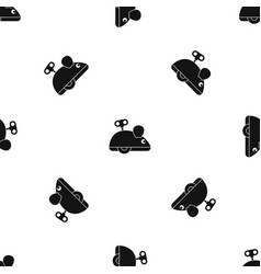 clockwork mouse pattern seamless black vector image