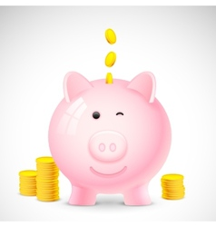 Coin falling into Piggy Bank vector
